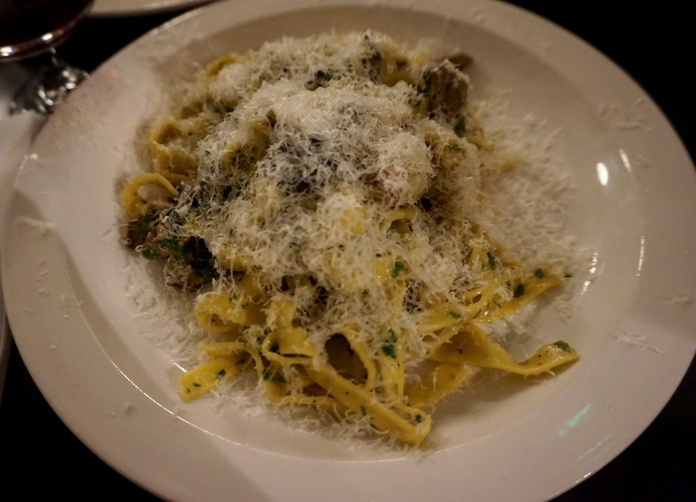 Fettuccine with chicken liver and wild mushrooms.