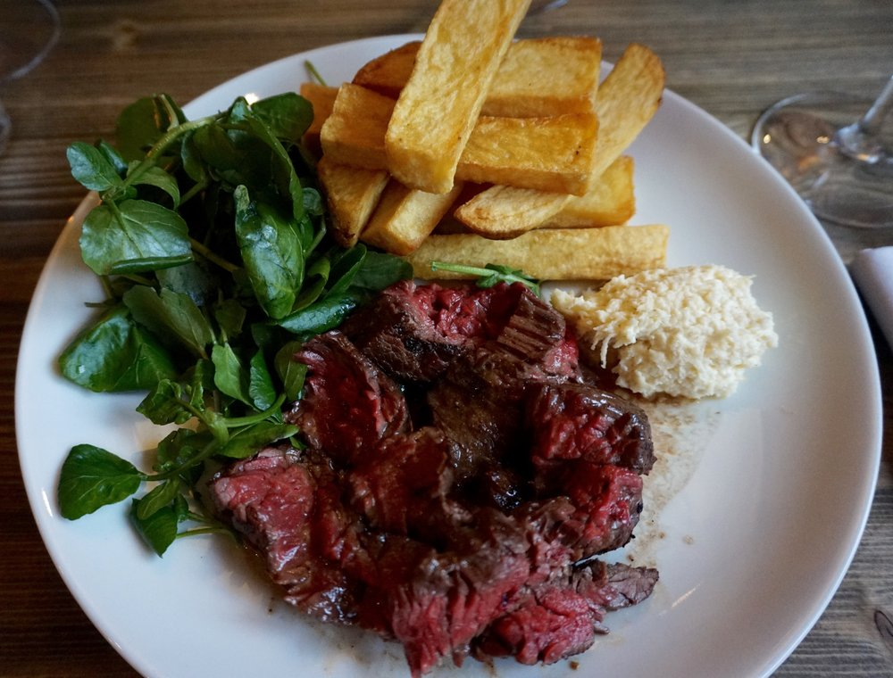 Char-Grilled Scottish Bavette Steak, Watercress, Chips & Horseradish
