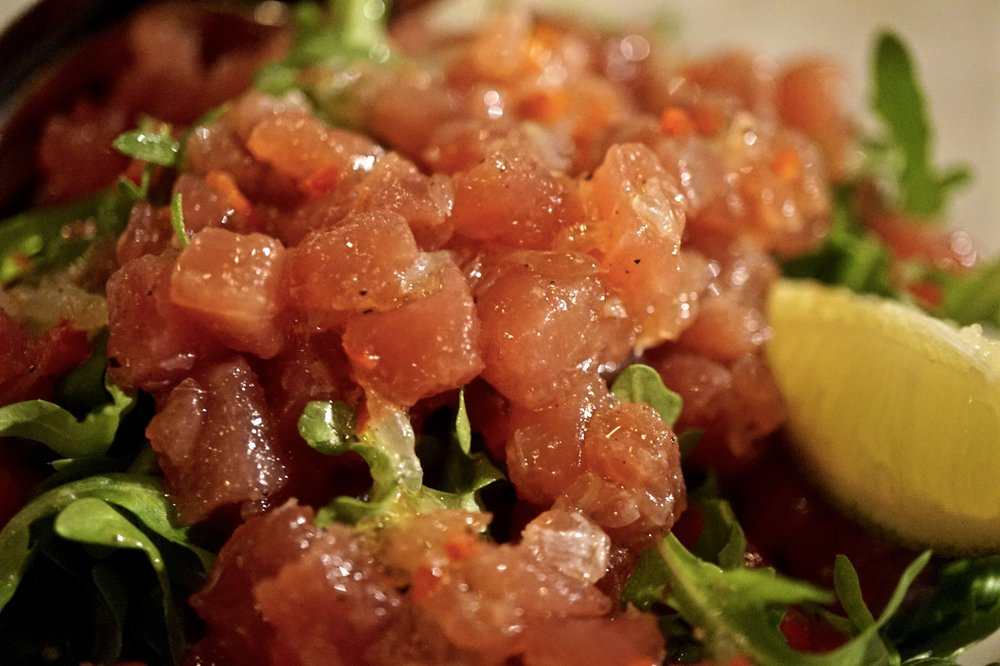 tuna tartare, chilli, lime and rocket