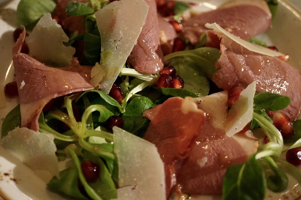 smoked duck carpaccio with pomegranate & pecorino