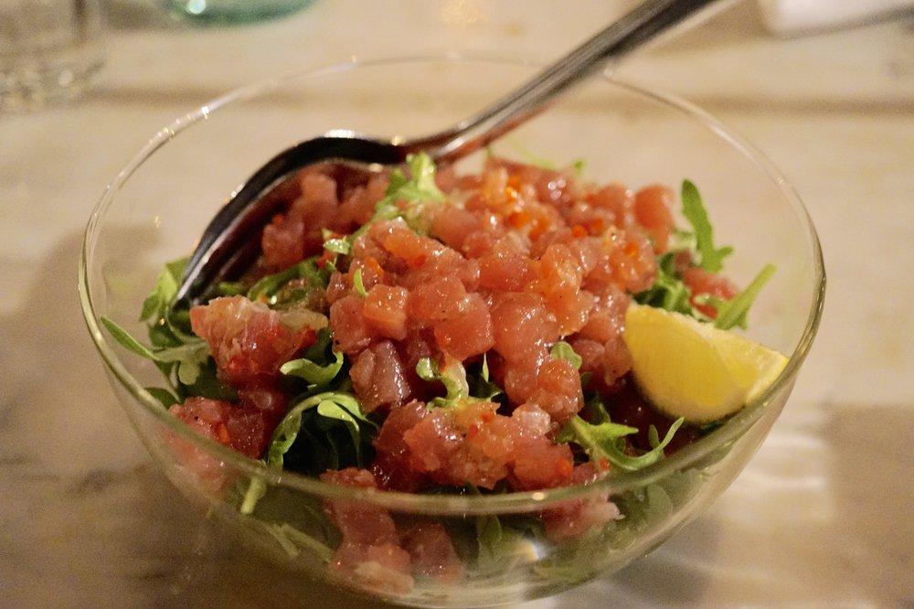 tuna tartare, chilli, lime and rocket