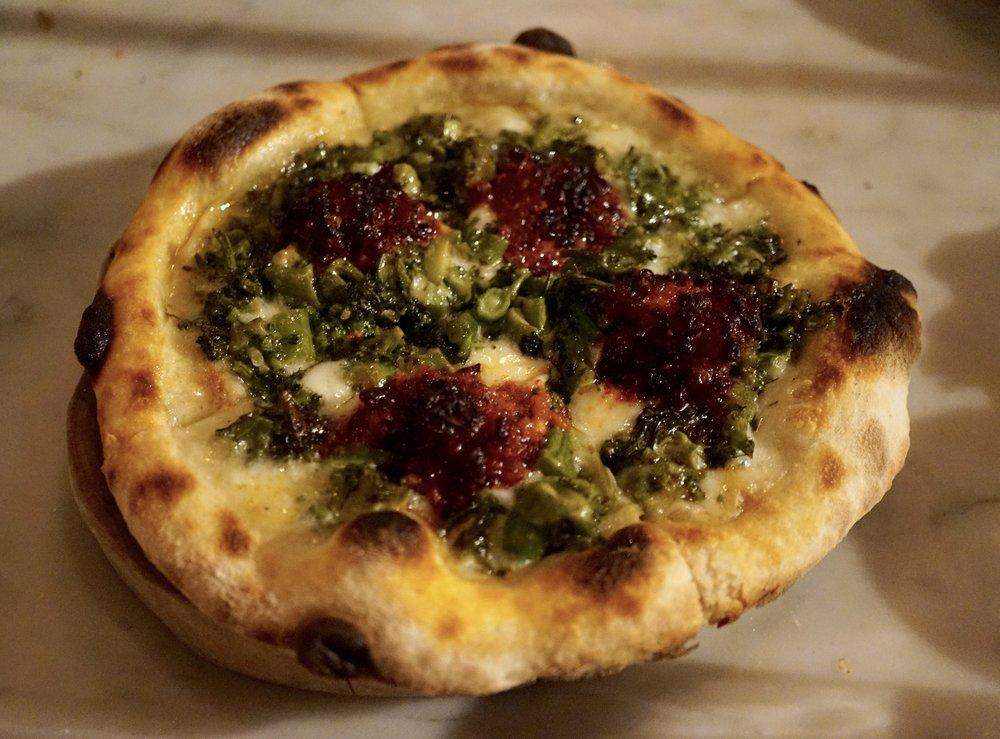 pizzetta, mozzarella, sprouting broccoli & Nduja